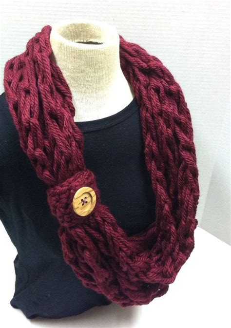 My crochet arm knit bulky rope scarf in Burgundy with