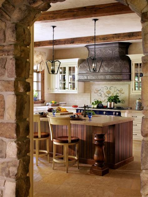 French Country Kitchen with Reclaimed Tin Range Hood | HGTV